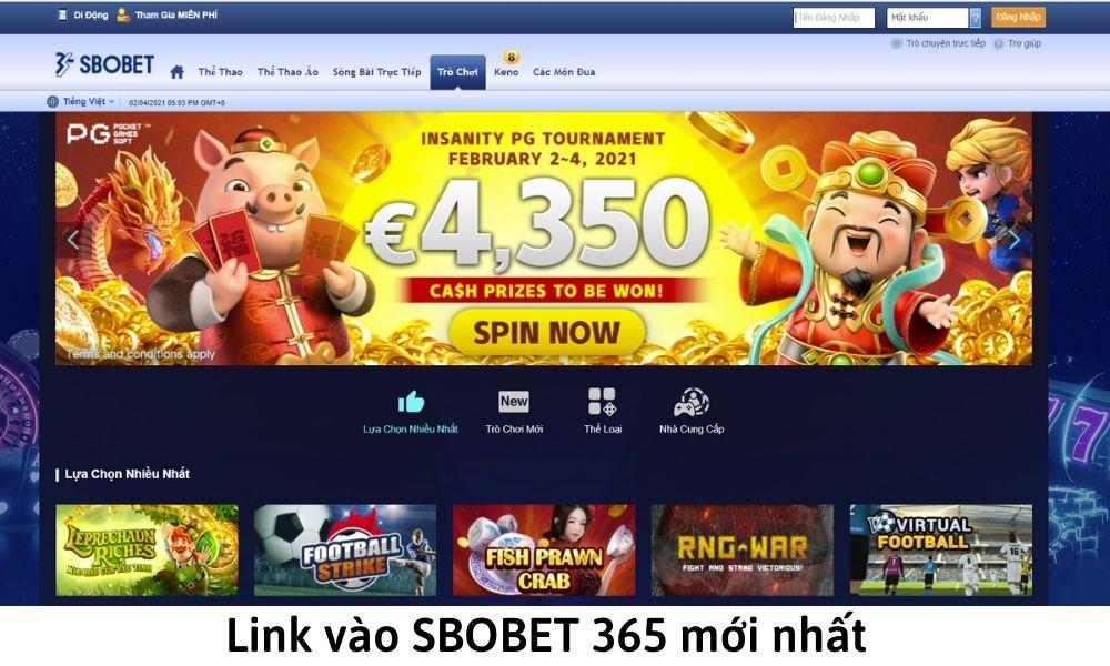 Link vào SBOBET 365 mới nhất